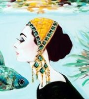 """""""Audrey With Four Siamese Fighting Fish"""" by Ahsley Longshore"""