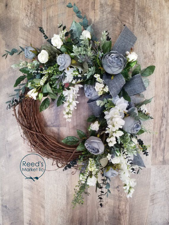 Photo of Spring summer grapevine wreath in soft gray and whites for the front door and all decor