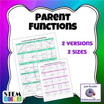 Parent Functions Included Are Parent Functions Poster 8 1 2 By 11 And An Easy To Make Kit For Jumbo 1 Parent Functions Algebra Activities Working Parent