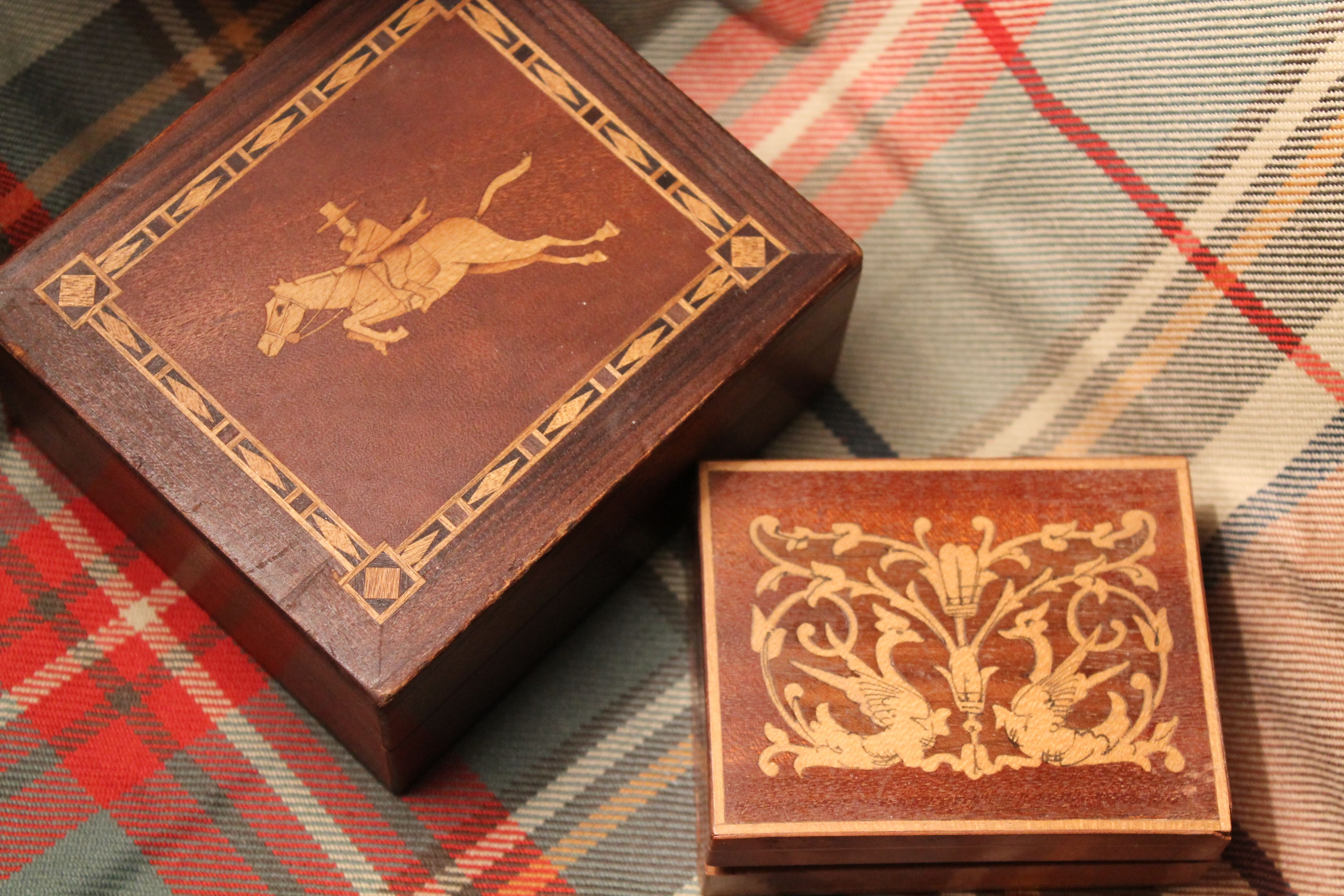 little wooden inlay boxes