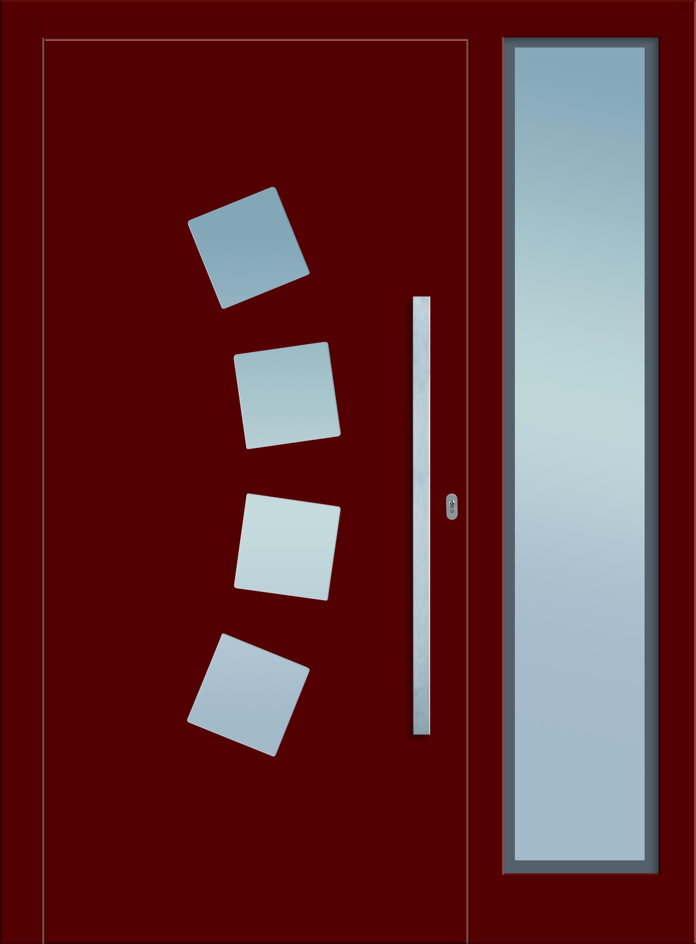 Modell Kuma 1 Aluminium-Eingangstüre in rot mit Seitenteil - Außenansicht! Sternstunden-Türen erhätlich bei Fenster-Schmidinger aus Gramastetten in Oberösterreich! #doors #türen #alutüren #sternstunden