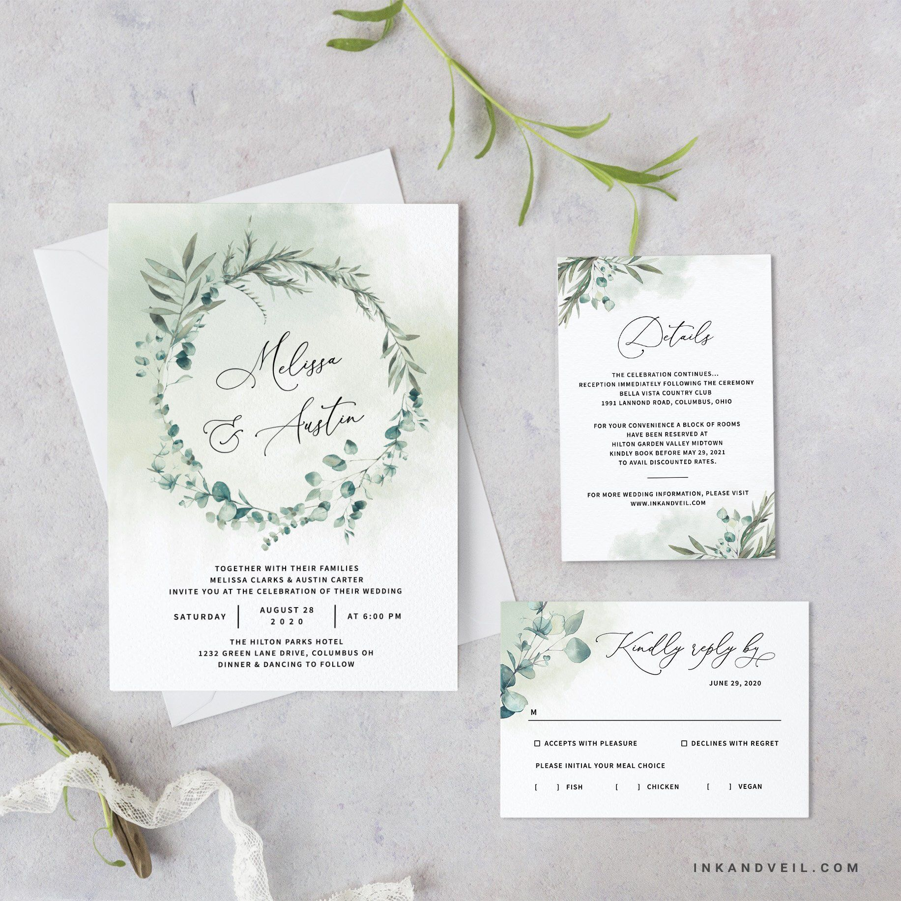 Bohemian Greenery Wedding Invitation Template Eucalyptus Wreath
