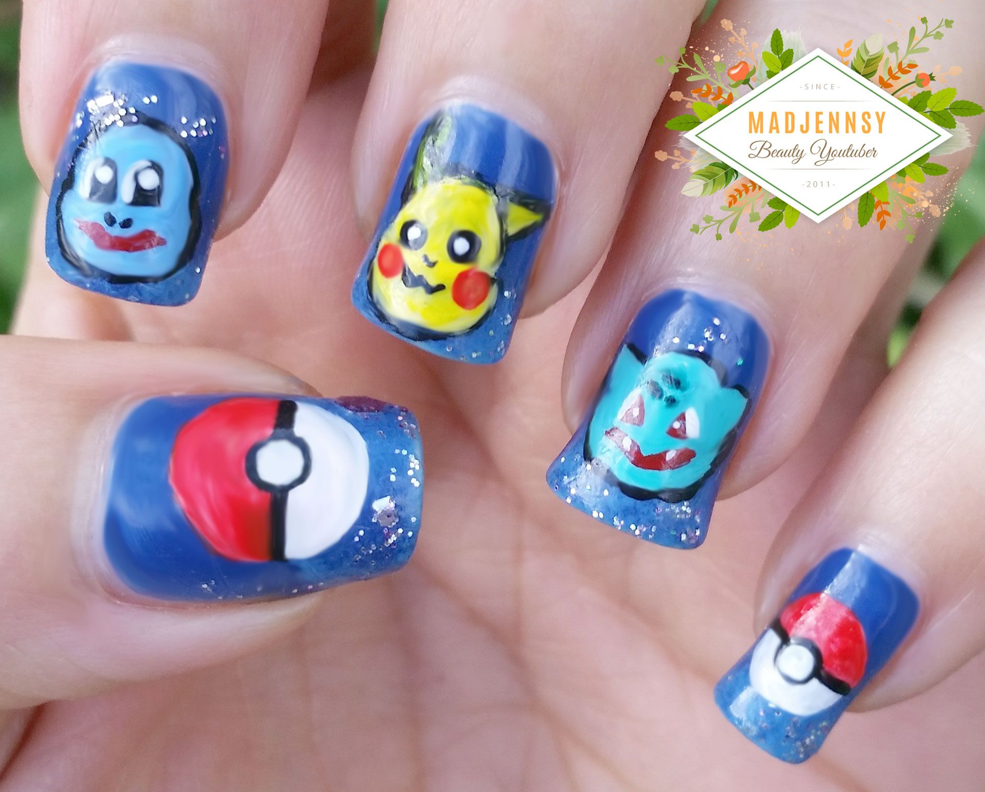 Pokemon Nail Art Pikachu Squirtle Bulbasaur Nail