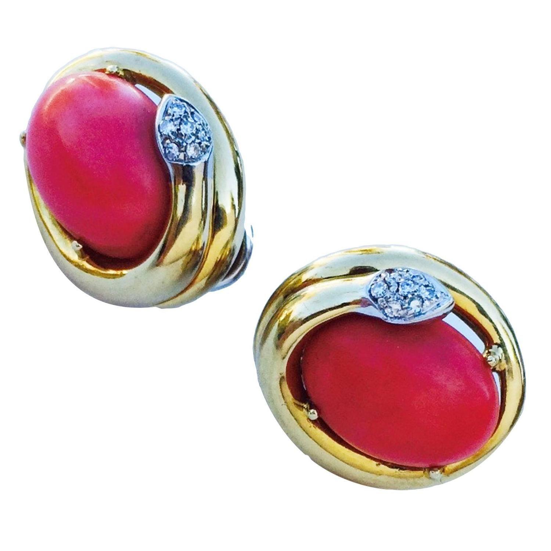 Mid Century Italian Coral Diamond Gold Serpent Ear Clips 1stdibs Com Jewelry Clip On Earrings Amazing Jewelry