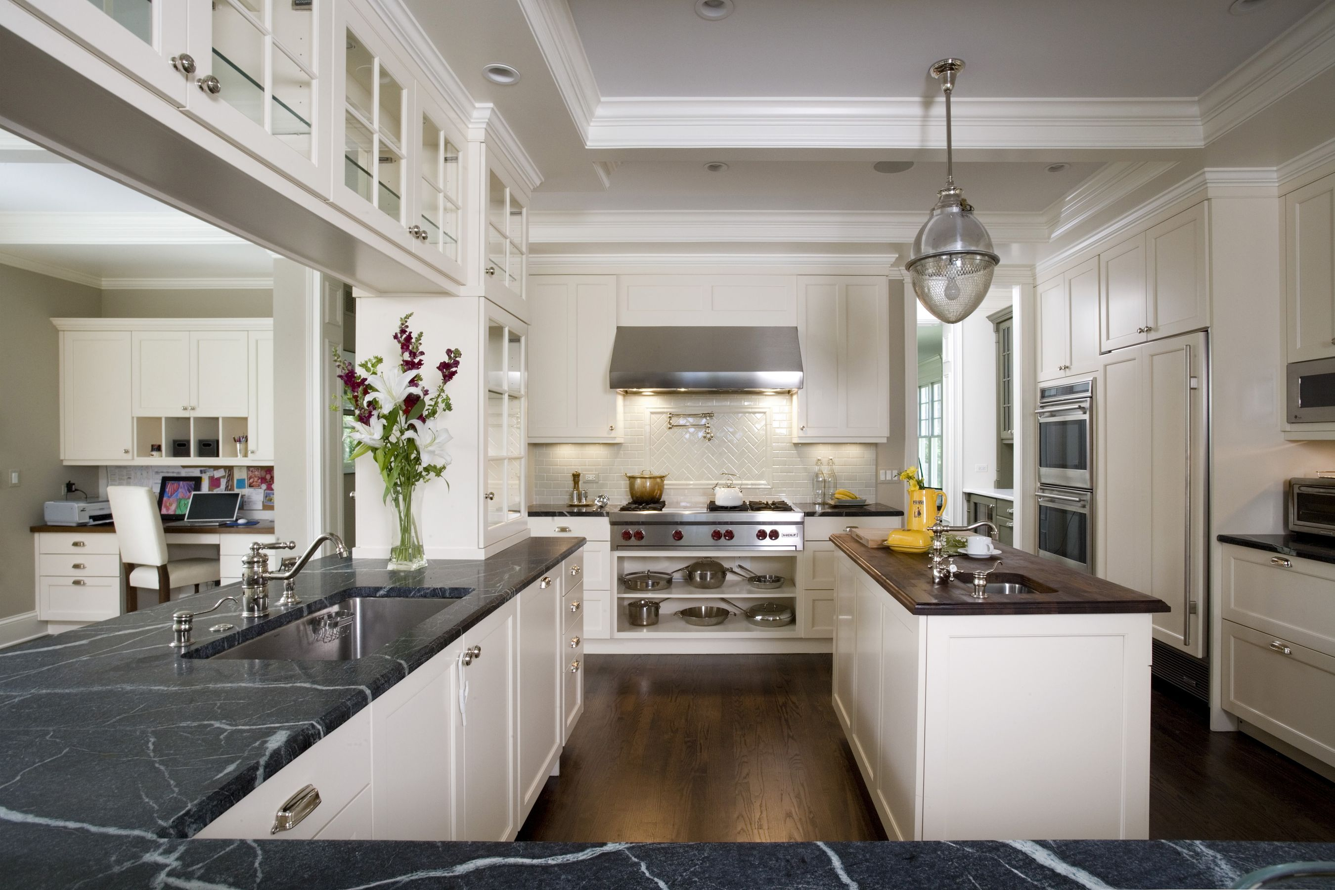 White Custom Cabinets Soapstone Countertops Luxesource Luxe Magazine The Luxury Home Red Kitchen Interior Traditional Kitchen Design Contemporary Kitchen