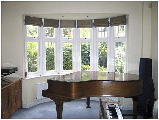 Bay window blinds bay window treatments pinterest for Contemporary window treatments for bay windows