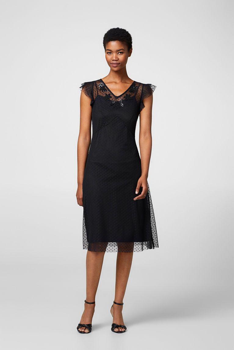 Esprit - Něžné šaty ze síťoviny, puntíky, perličky  Malé večerní