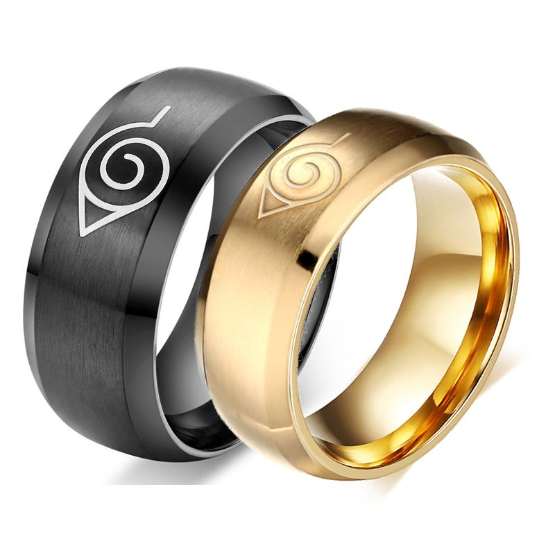 hot sale anime naruto ring fine jewelry 8mm blackgold cool men jewelry stainless steel - Anime Wedding Rings