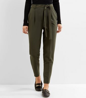 amazing price hot-selling professional extremely unique Khaki Tie Waist Slim Leg Trousers | New Look | Let's Dress ...