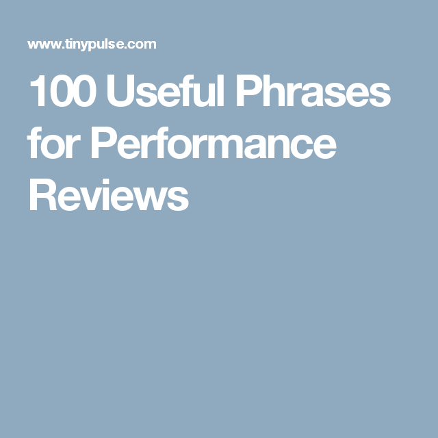 Useful Phrases For Performance Reviews  Trabajo