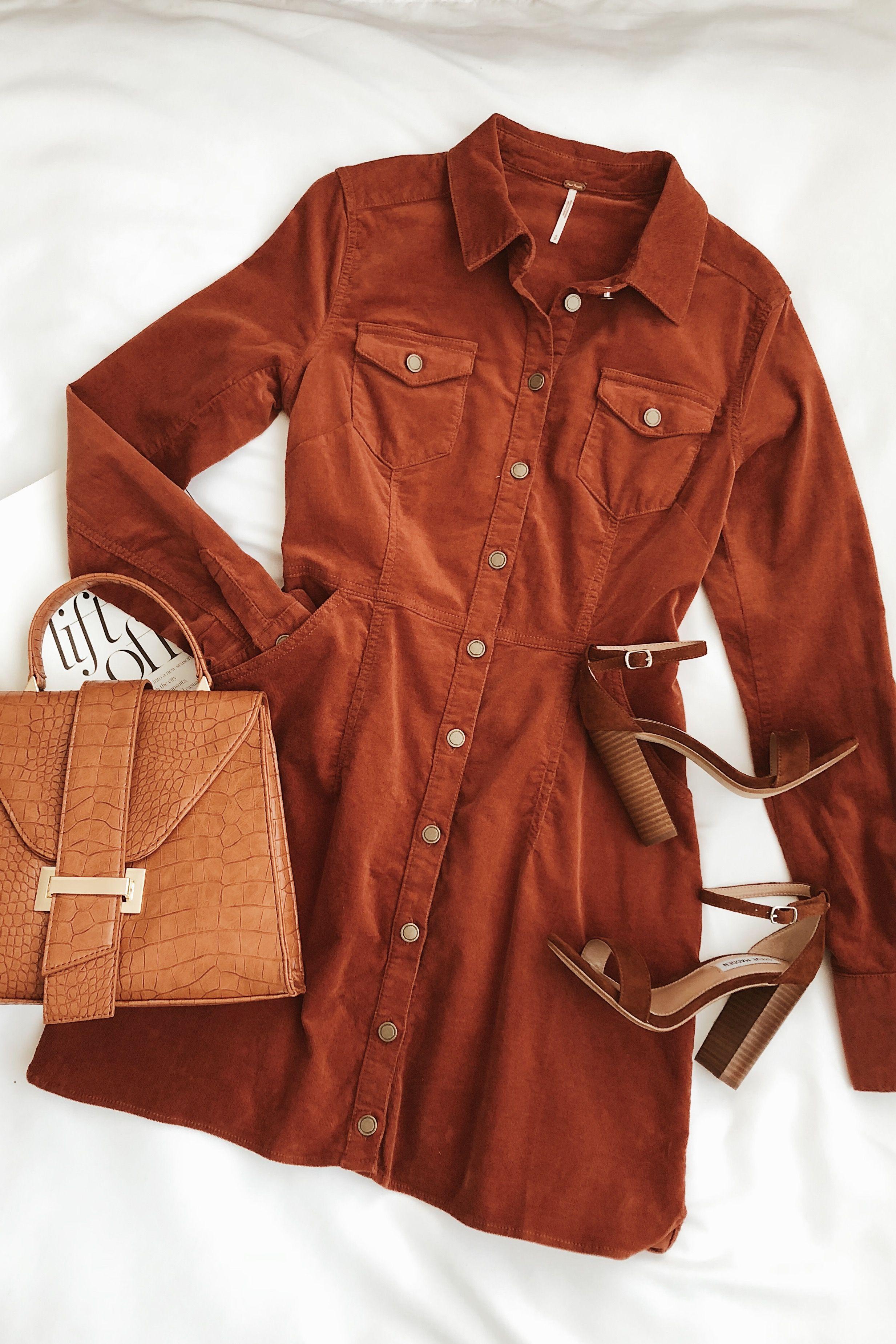 Dynomite Burnt Orange Corduroy Long Sleeve Dress Orange Dress Outfits Clothes Fashion [ 3699 x 2466 Pixel ]