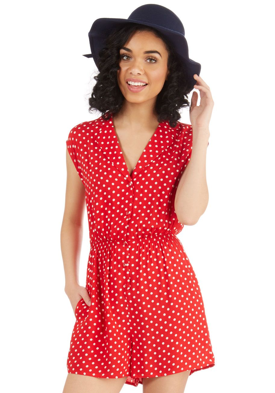Read It and Steep Romper in Red Polka Dot, #ModCloth