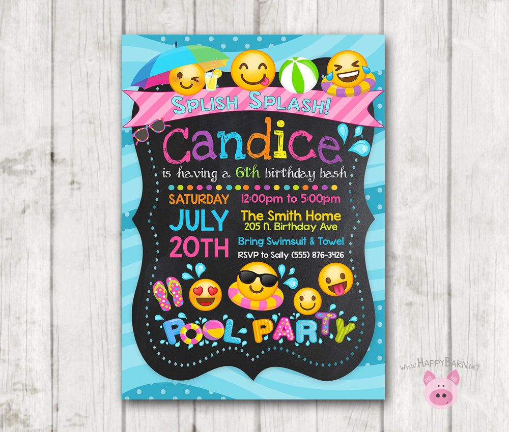Printable Emoji Pool Party Party Invitation Swim Party Emoji  Sky