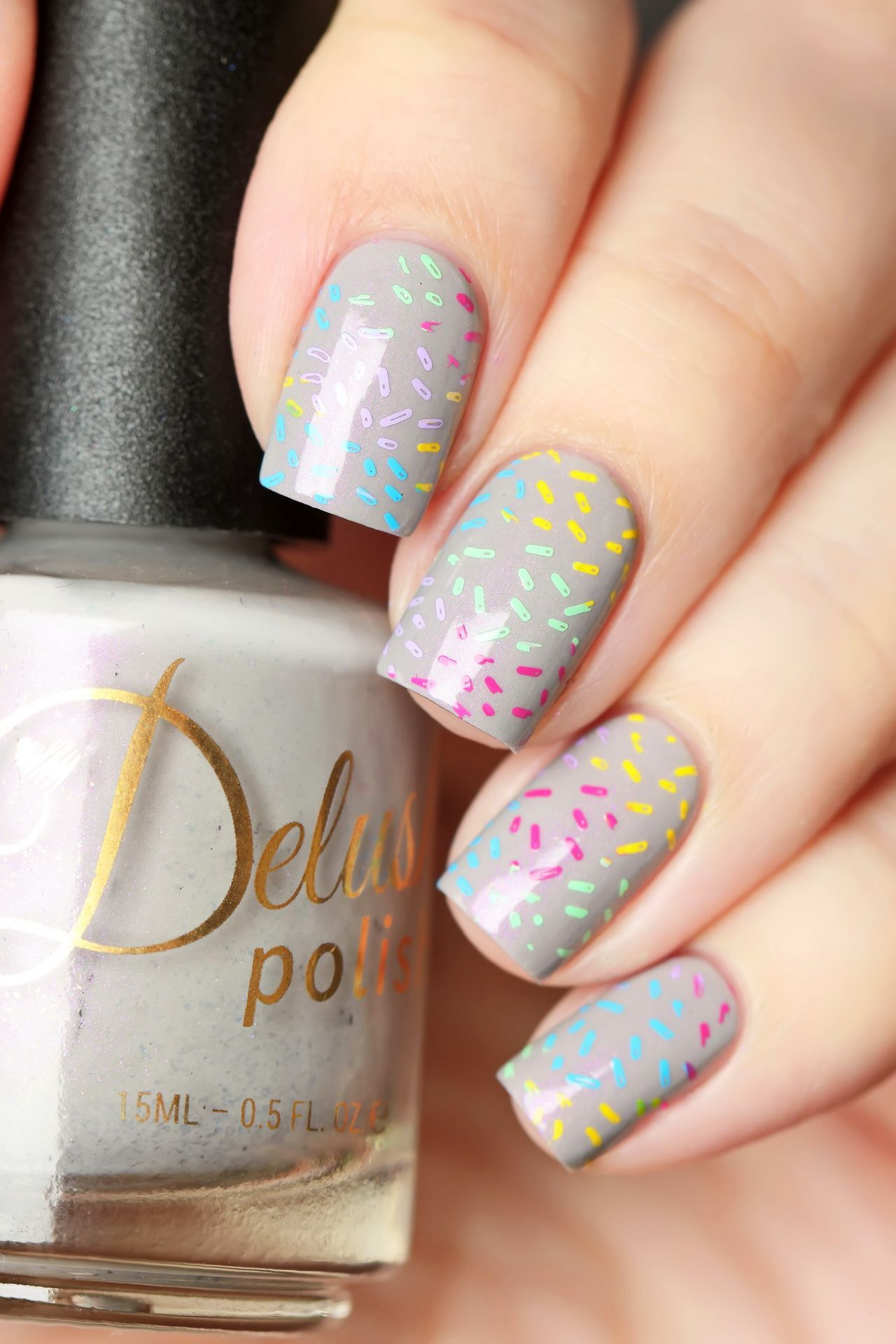 Nail Art Stamping Rainbow Color Sprinkle Nails Using High