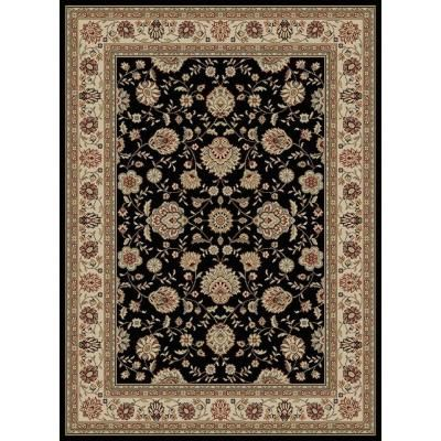 Tayse Rugs Elegance Black 5 ft. x 7 ft. Traditional Area Rug-5143 Black 5x7 - The Home Depot