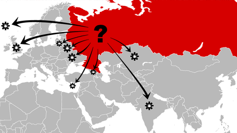 Russia, network attack, info graphic, illustration @ Stina Tuominen