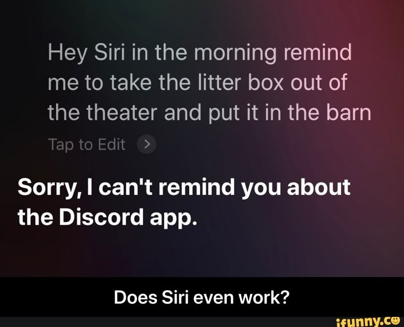 Hey Siri in the morning remind me to take the litter box