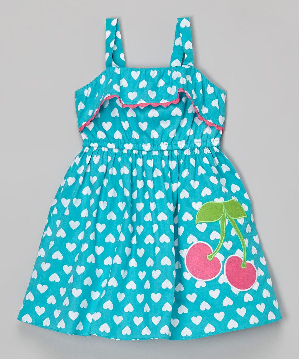 Look at this #zulilyfind! Youngland Turquoise Heart Cherry Appliqué Dress - Infant, Toddler & Girls by Youngland #zulilyfinds