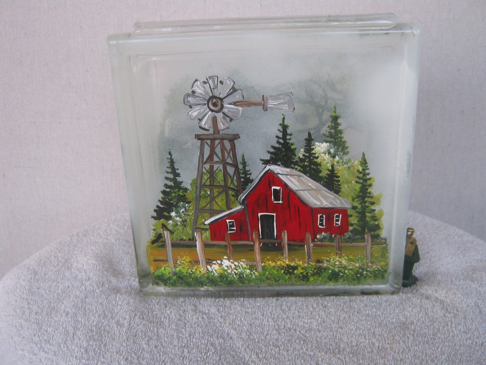Glass Block Night Light Painted by Janice Palmer Barn Tractor Barn Windmill | eBay