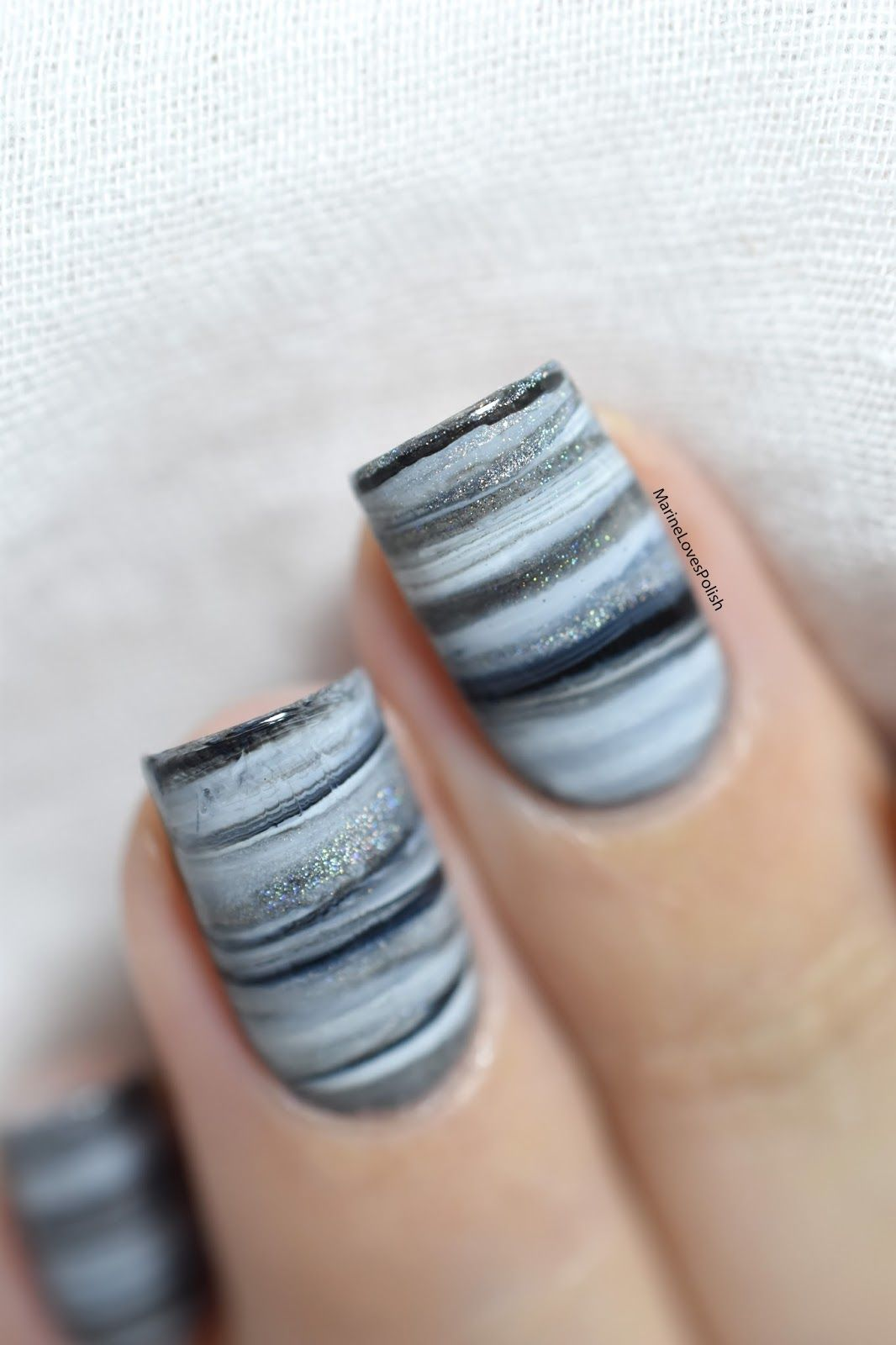 Fifty Shades of Grey Dry Marble [VIDEO TUTORIAL] | Marble nail art ...