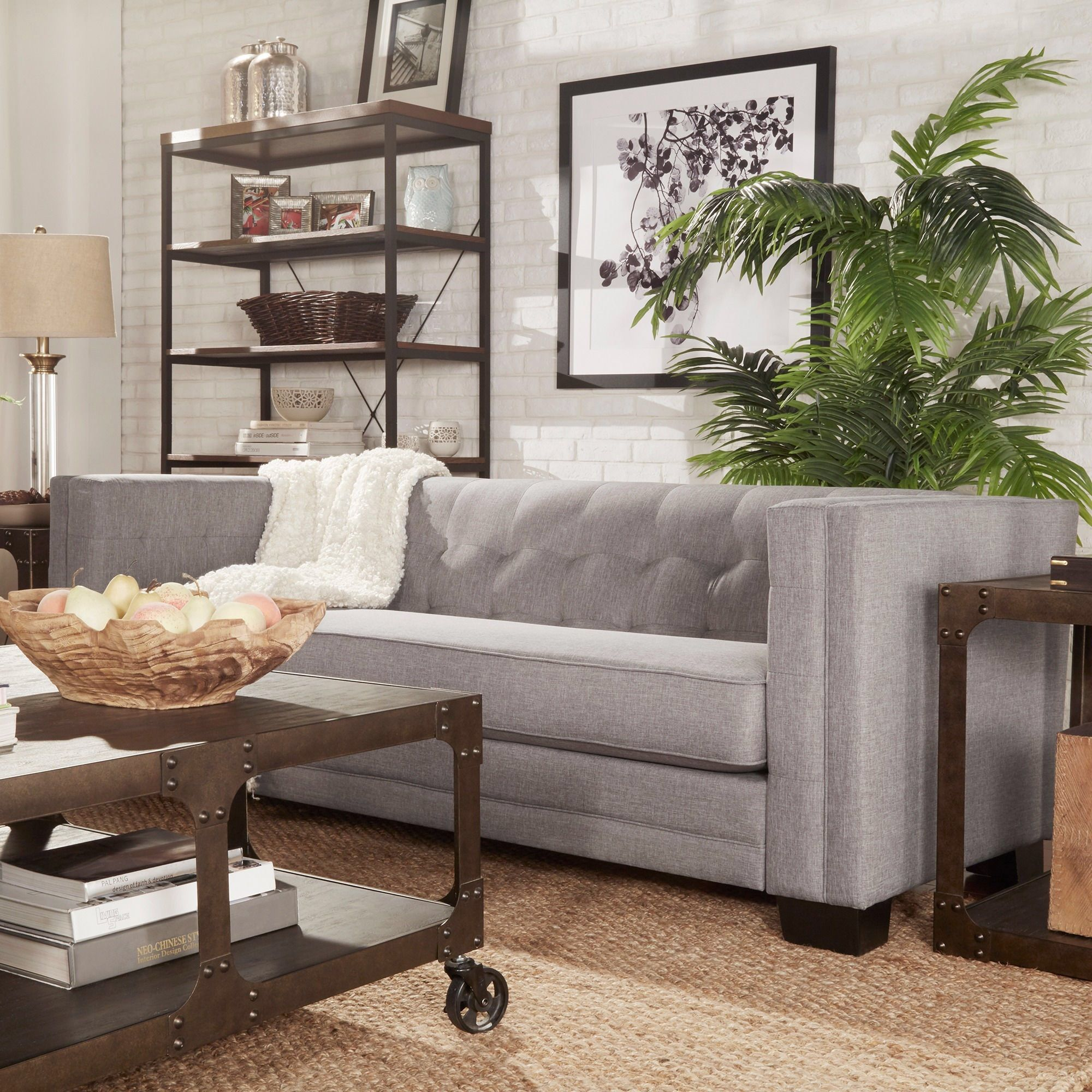 Inspire Q Hamilton gray low profile tufted sofa from Overstock