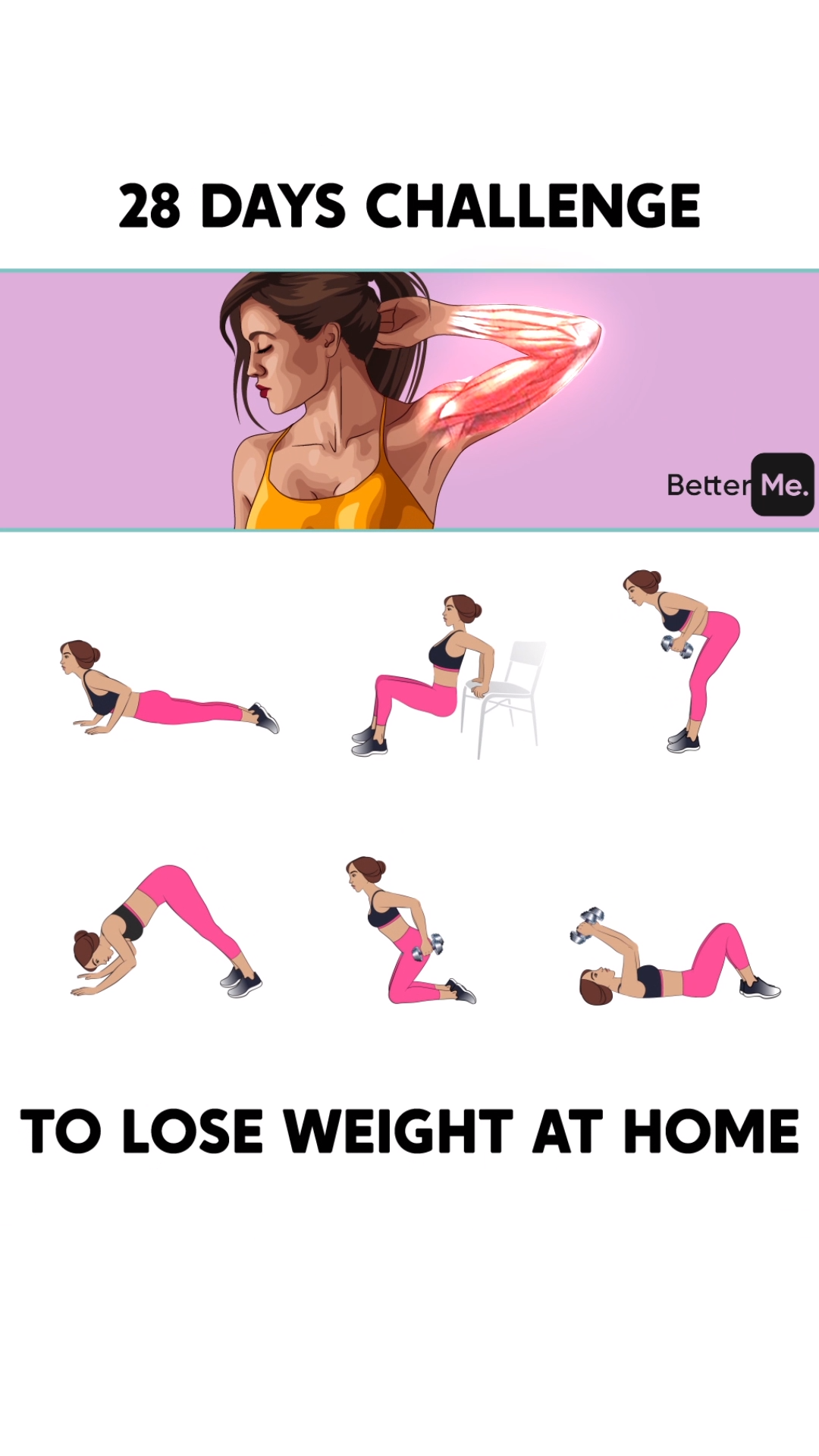 28-Day Challenge Rules to Get Slimmer Body at Home #fitnessexercisesathome