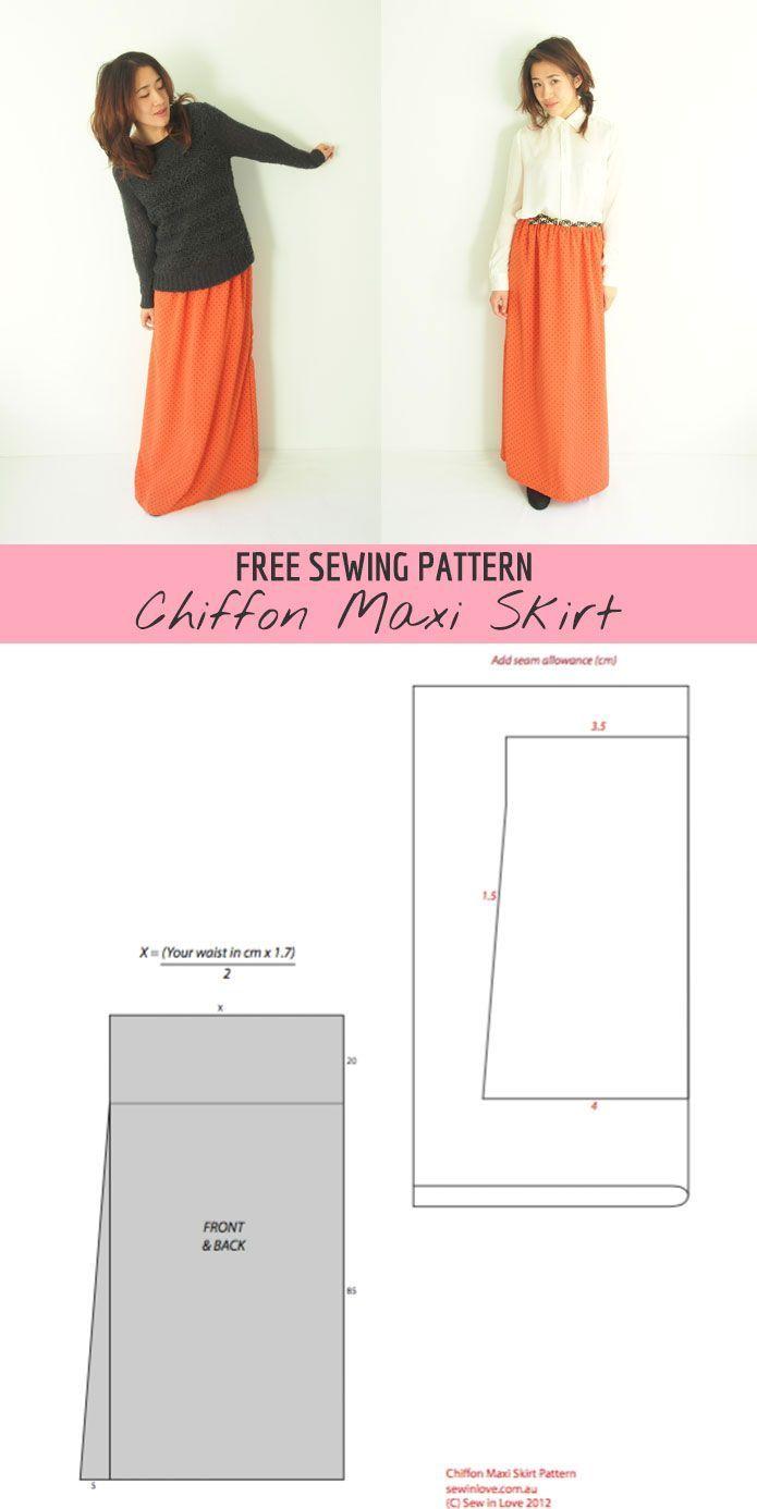 Free pattern: Long chiffon maxi skirt   sewing   Pinterest   Costura ...
