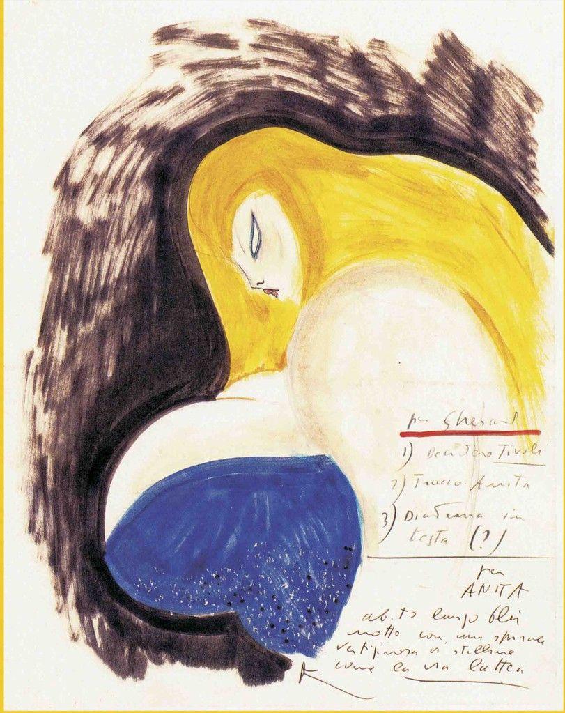 drawing by Federico Fellini Marcello Mastroianni, Joan Crawford, Bette  Davis, Great Films,