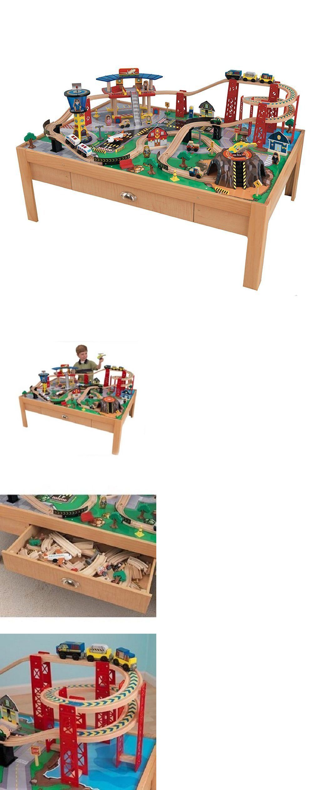 Brio Compatible 16517: Kidkraft Airport Express Wood Train Table Toy Set  100Pc Busy City Play
