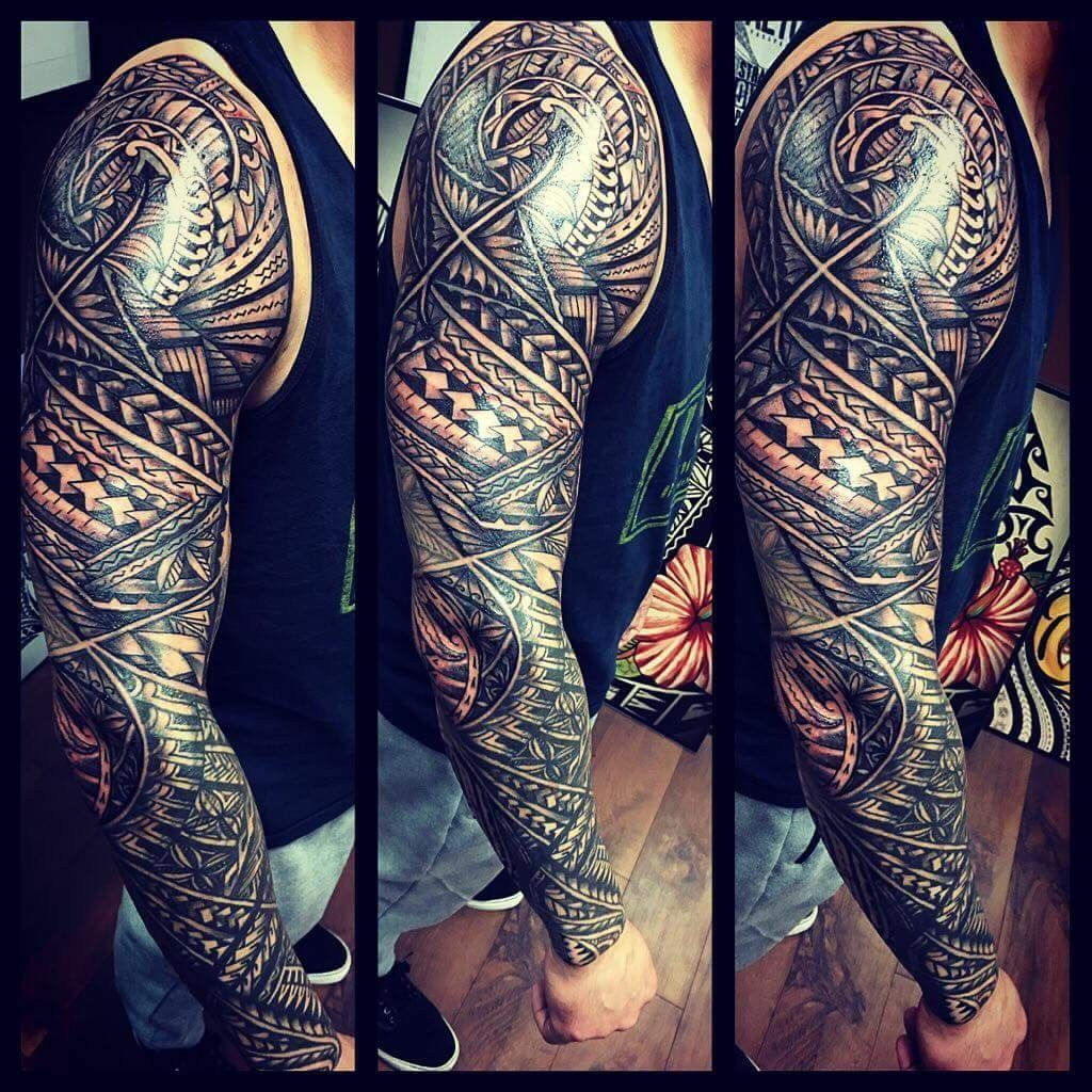 - - #ArmTattoo #BlackAndGrayTattoos #FullSleeveTattoos #SamoanTattoo