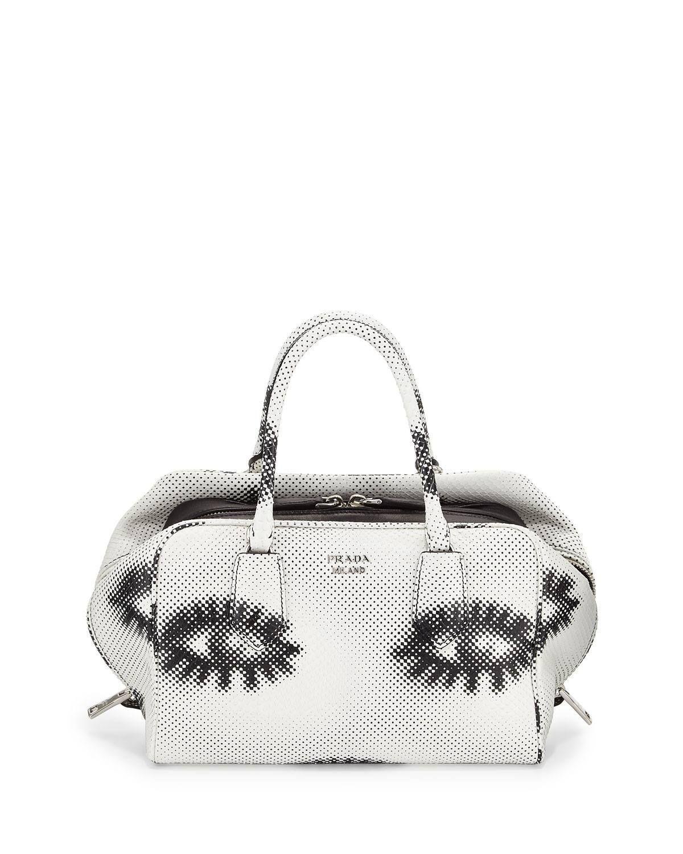 Python Eyes Inside Bag, White/Black (Bianco+Nero)
