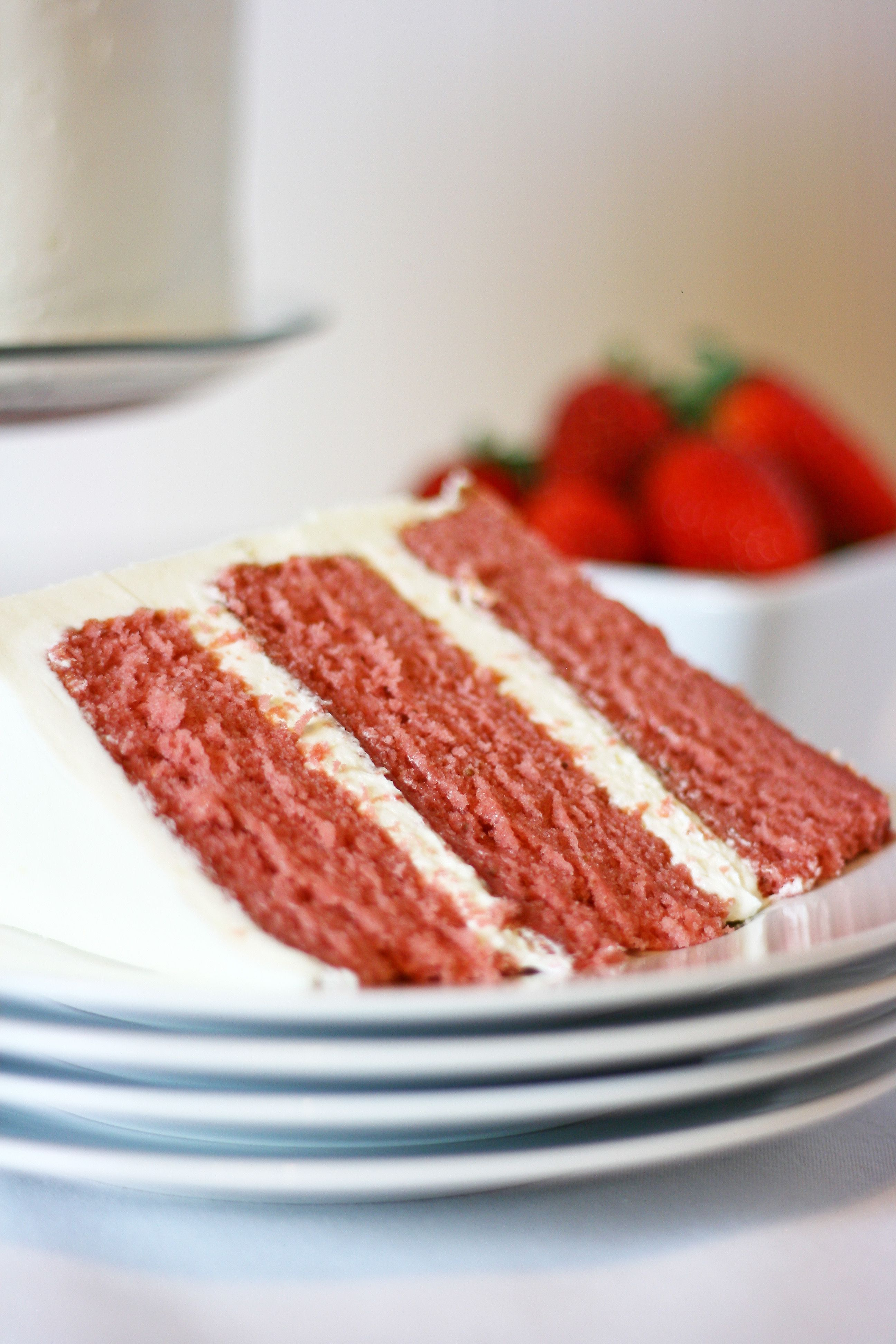 Delicious strawberry cake...not very pink though, even when adding ...