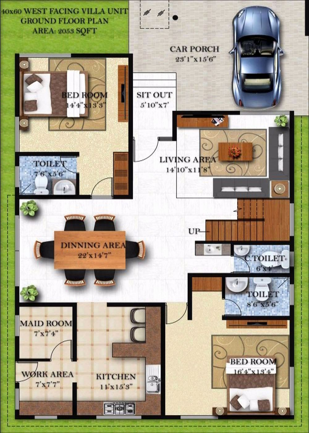 30 40 Duplex House Plans With Car Parking East Facing 60