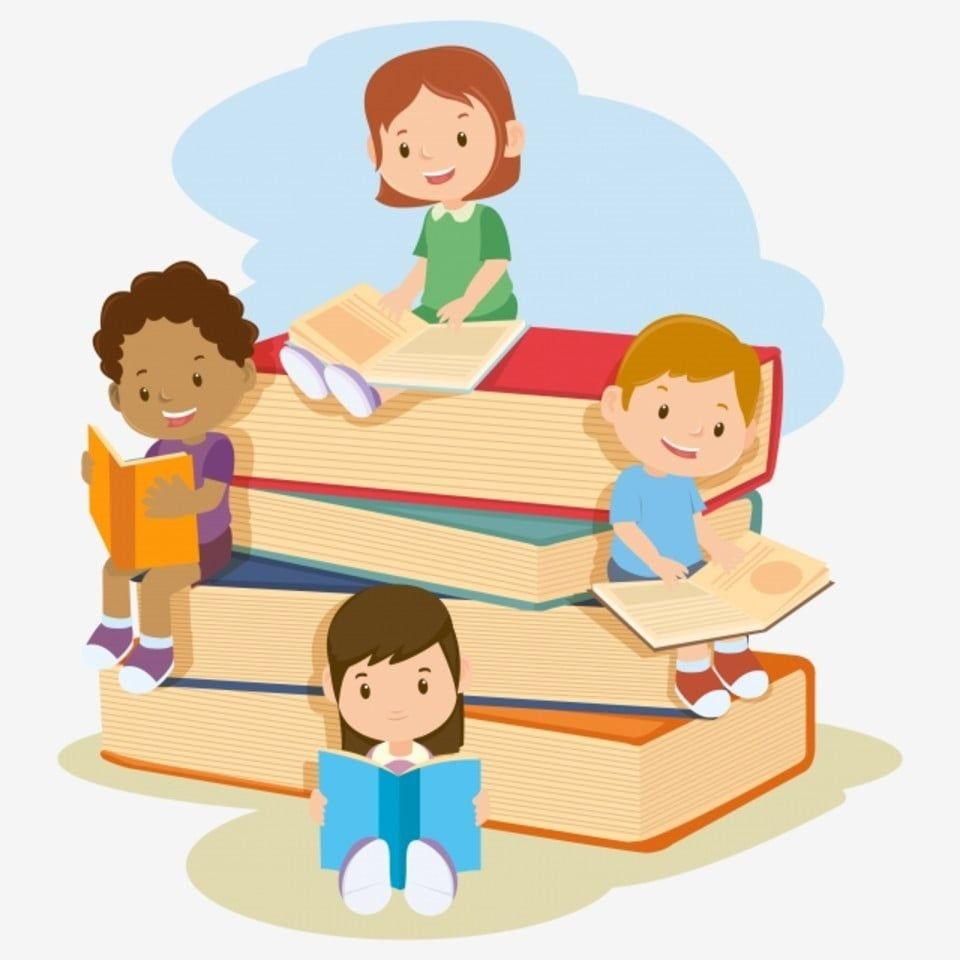 Education School Kids Cartoon Girl Boy Children Book Illustration Study Reading Young Learning Preschool Lesson Is Kids Reading Books Kids Reading Cartoon Kids