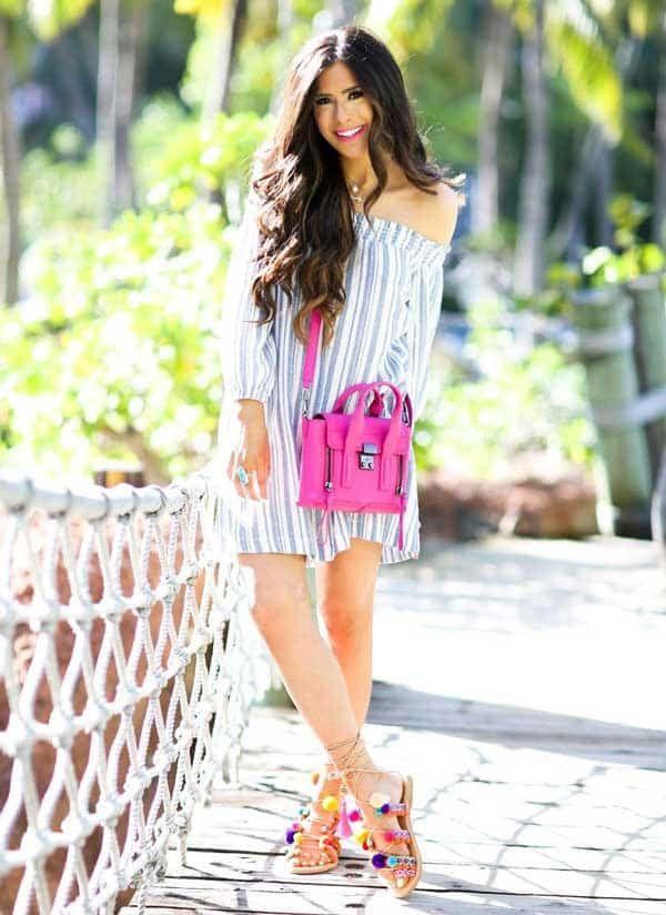 Pom Pom Sandals Outfits für einen bunten Sommer
