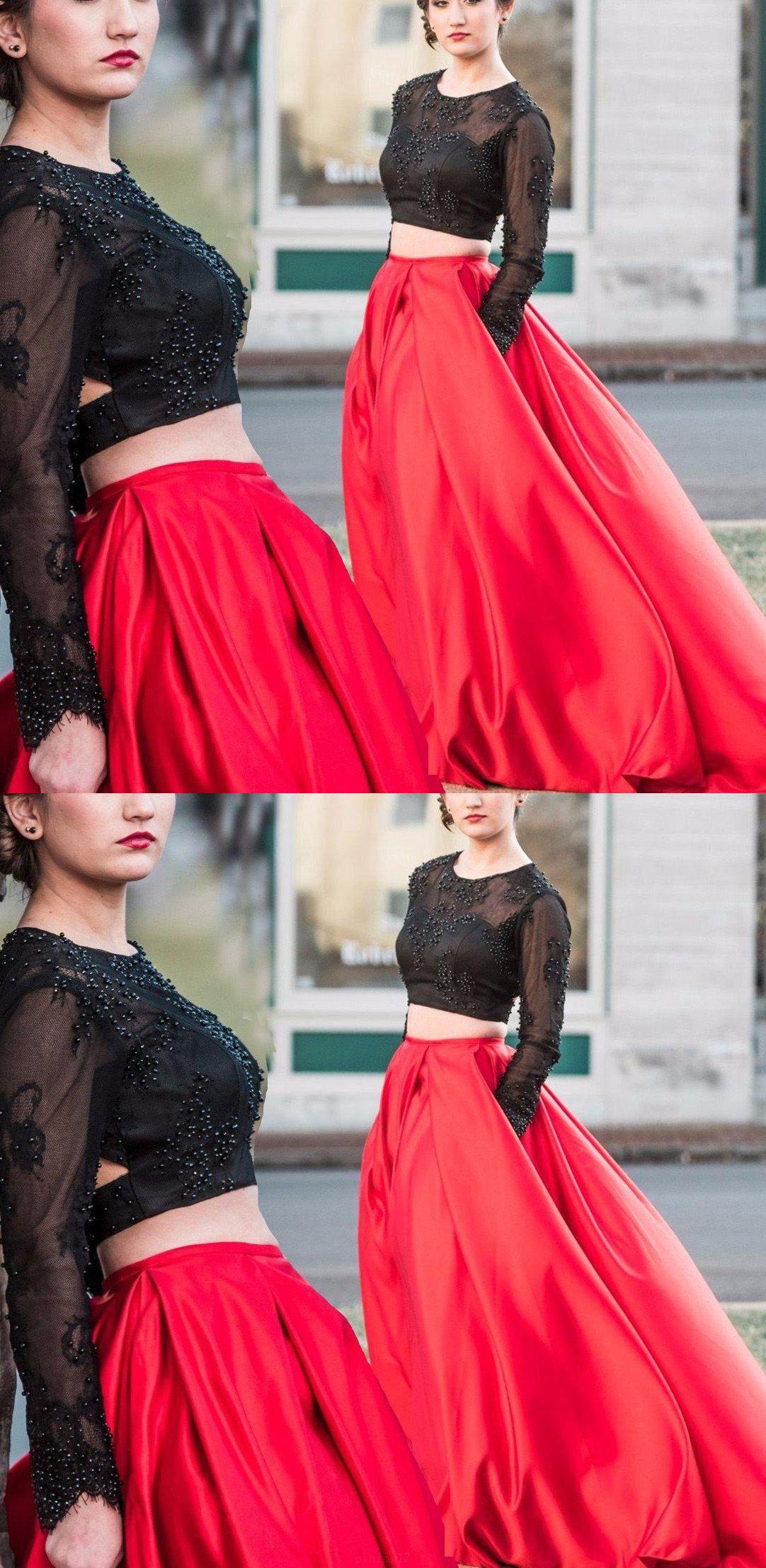 Long sleeve dresses long black prom dresses with beadedbeading