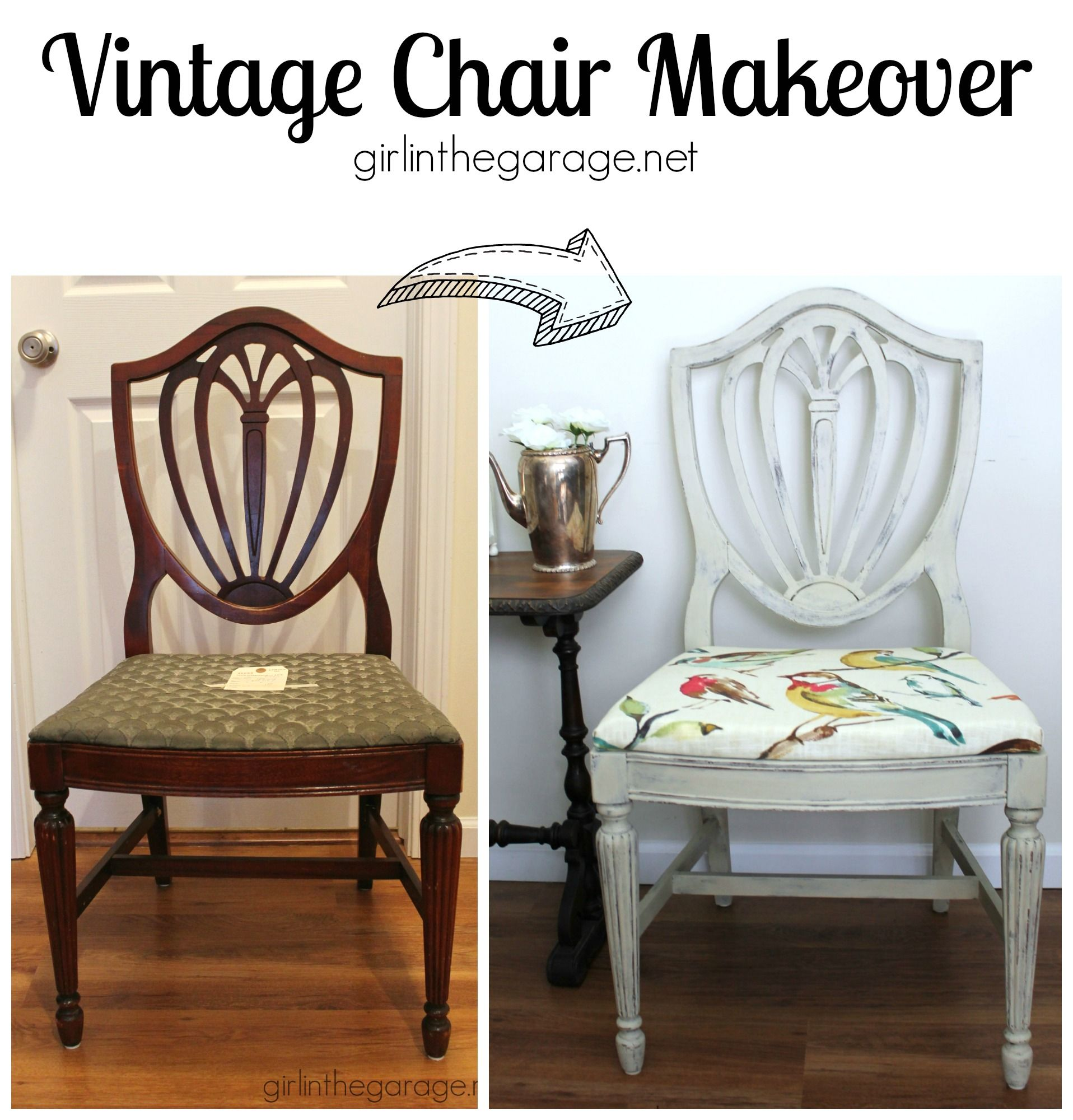 Magnificent Country Grey Chalk Paint Chair Makeover With Bird Fabric Download Free Architecture Designs Scobabritishbridgeorg