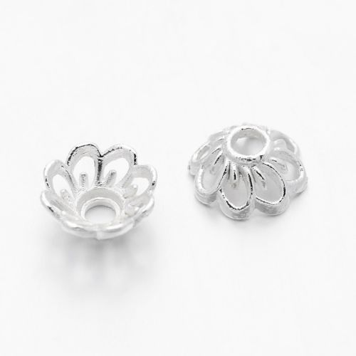 925 Solid Sterling Silver 3mm Flower Bead Caps 100pcs  #5405-7