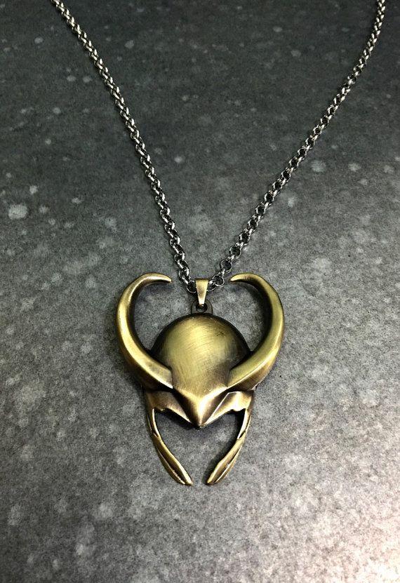Marvel comics Loki Thor helmet pendant necklace marvel avengers costume necklace