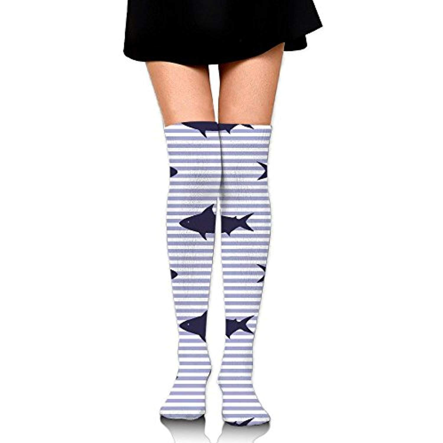 d48df444e0b61a PengMin Seamless Sharks And Stripes Cotton Compression Socks For Women.  Graduated Stockings For Nurses,