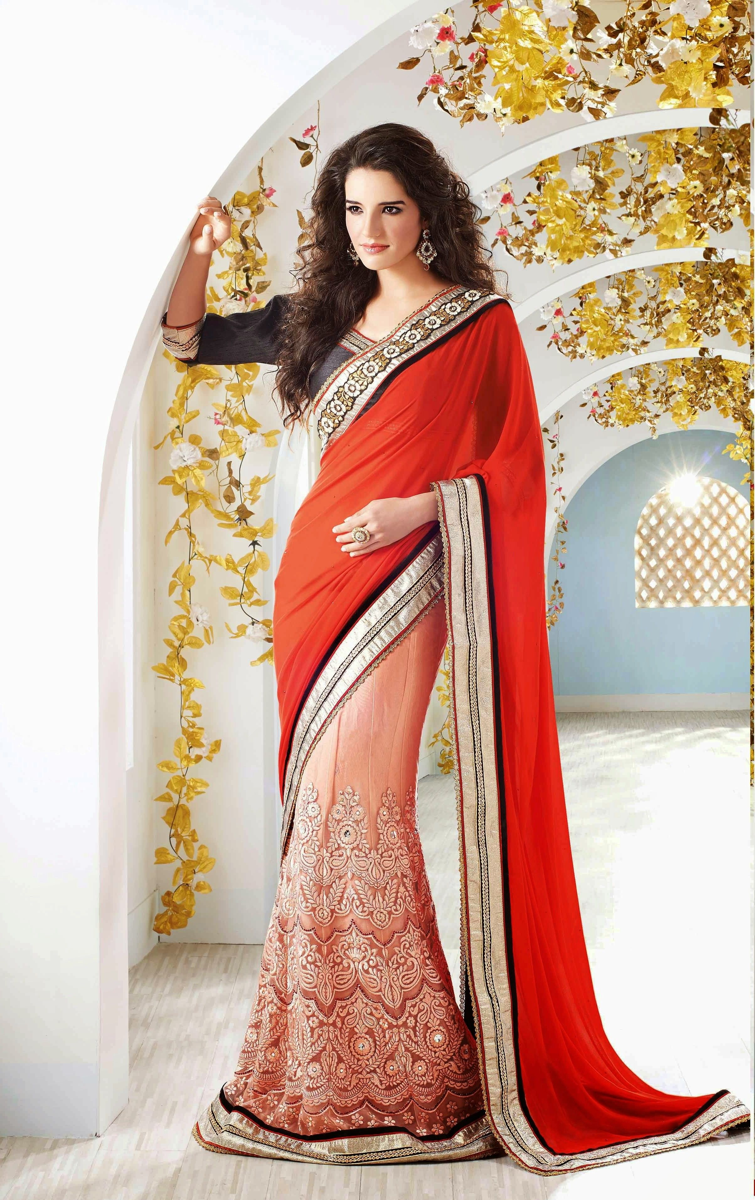 3d20417e0fce19 Heavy Embroidery Work Red   Peach Georgette Viscose With Sleeves   Raw Silk  Blouse Half and Half Saree