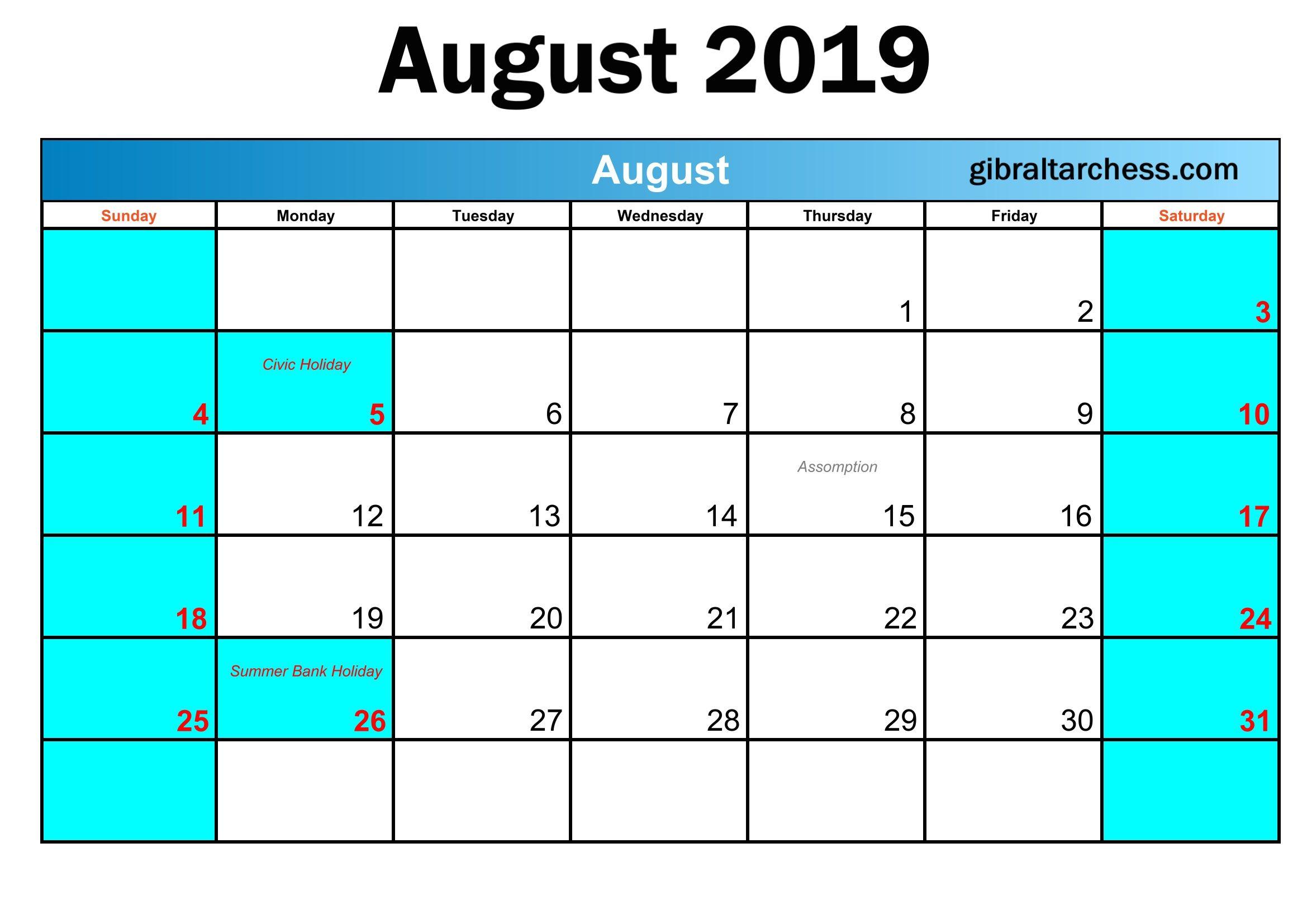 August 2019 Printable Calendar Templates Download Calendar