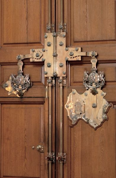 Detail of the lock on the front door at Blenheim Palace. It is a ...