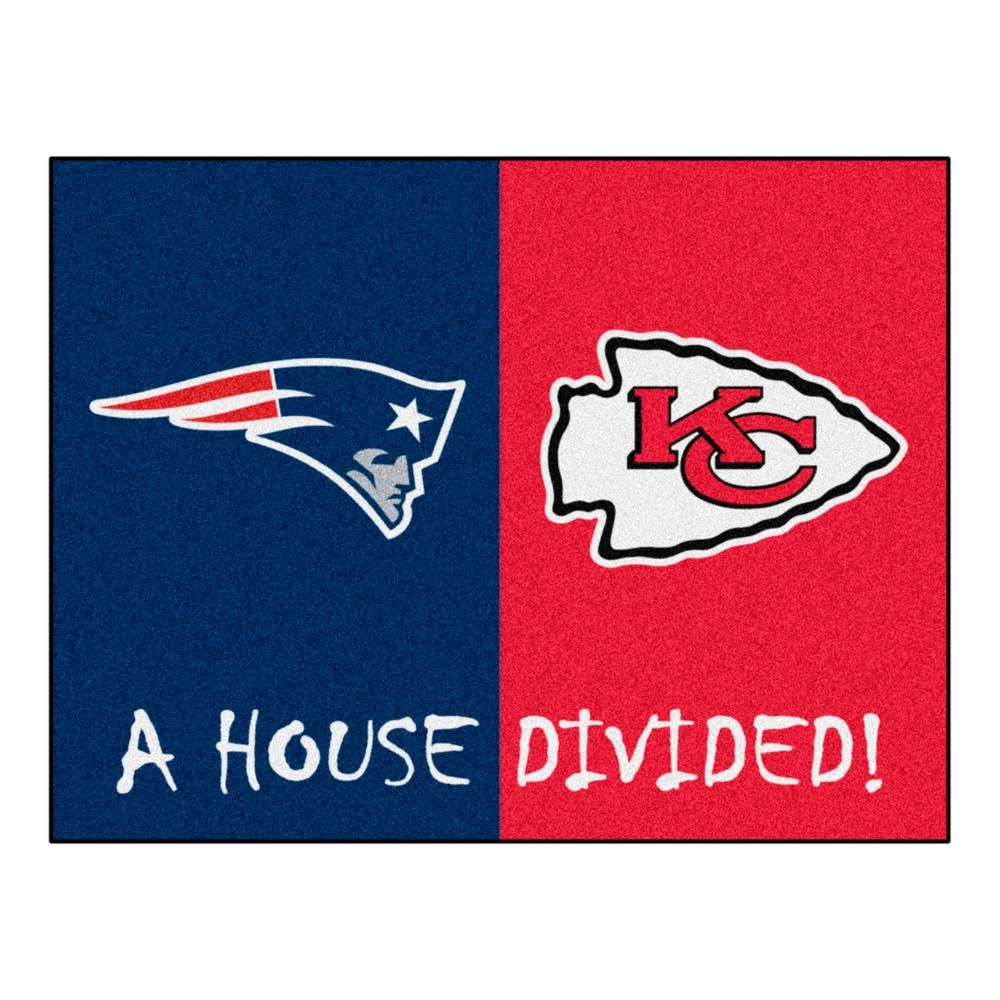 Fanmats Nfl House Divided Patriots Cheifs 33 75 In X 42 5 In House Divided Mat Area Rug 22315 The Home Depot House Divided Team Colors Nfl New England Patriots