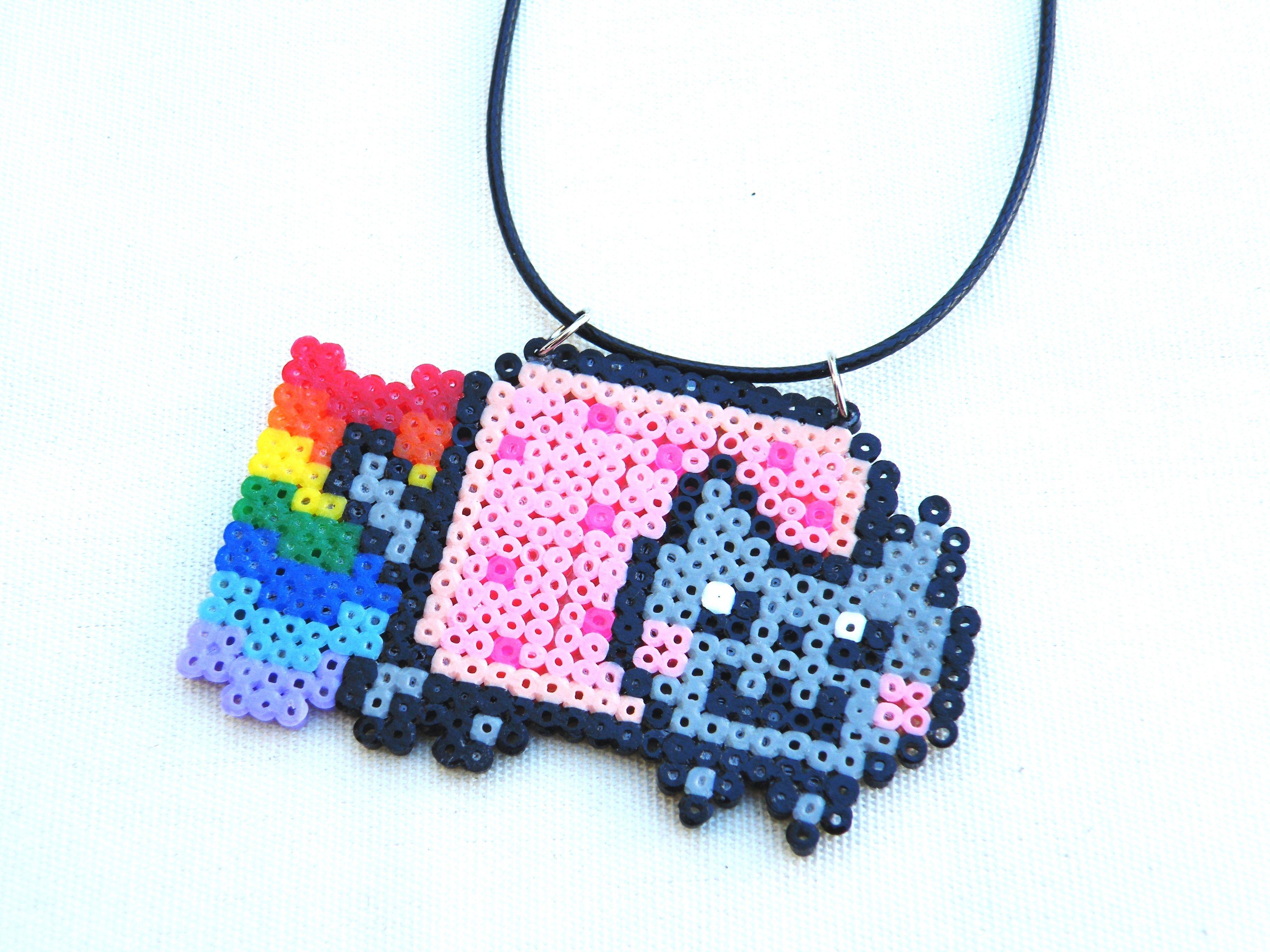 Collier En Perles Nyan Cat Chat Arc En Ciel Kawaii