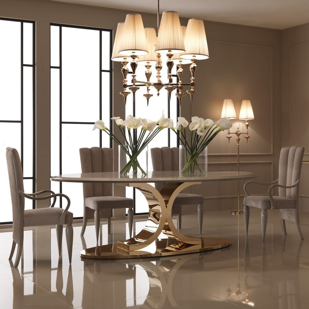 126 Custom Luxury Dining Room Interior Designs: Luxury 24 Carat Gold Plated Oval Designer Dining Table In