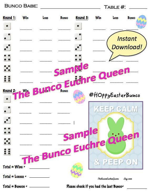 Easter Bunco Score Card Printable Score Sheets Tally Sheet And