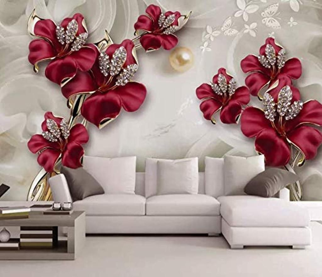 AWESOME RED CRYSTAL ACCENTED WALL FLOWER 3 DIMENSIONAL PETALS HOME DECOR