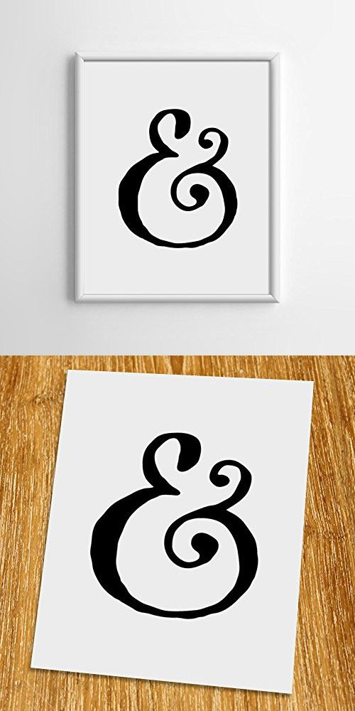 "Ampersand Print (Unframed), Typography Print, Scandinavian Wall Art, Inspirational Quote, Cafe Decor, Minimalist, Black and White, 8x10"", TA-045"