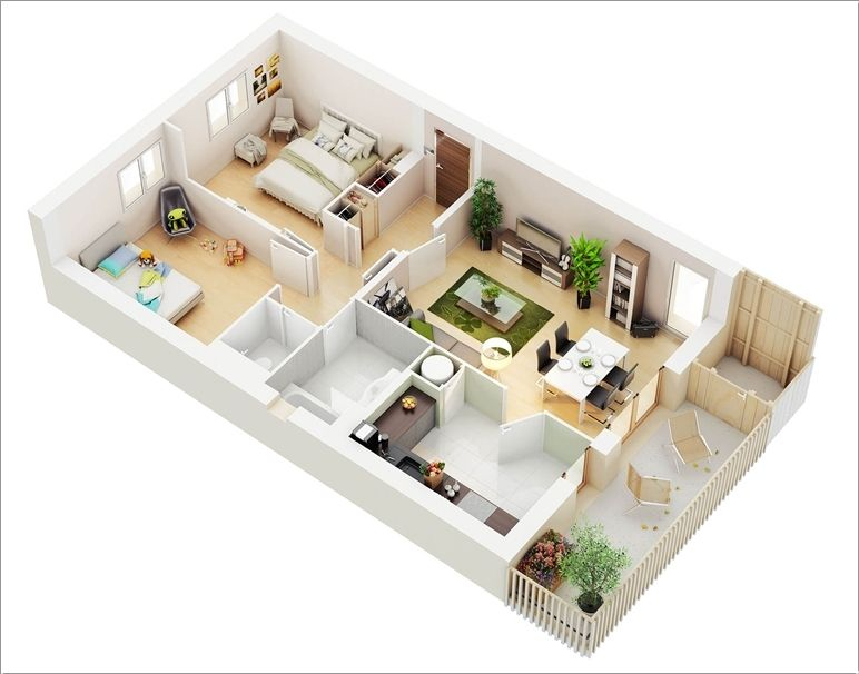 10 Awesome Two Bedroom Apartment 3D Floor Plans House